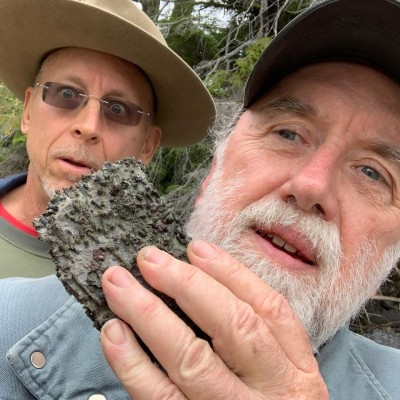 Dave is stunned by Devonian coral with Ray in Southeast Alaska