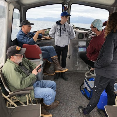 Dave, Ray and his son Carson cruising for cool fossils in Southeast Alaska with a couple of friends.