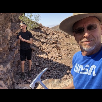 Dave and his son Carson hunting trilobites in the deserts of California