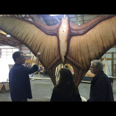 Gary showing a couple of friends the fiber glass Quetzalcoatlus sculpture in progress.
