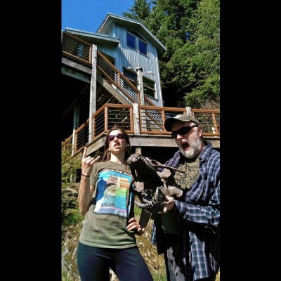 Amy visiting Ray's studio in Ketchikan, AK.