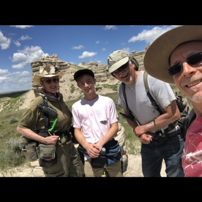 Carol Kaye, Carson Strassman, Tom Kaye and David Strassman out on a fossil dig in the summer of 2019.