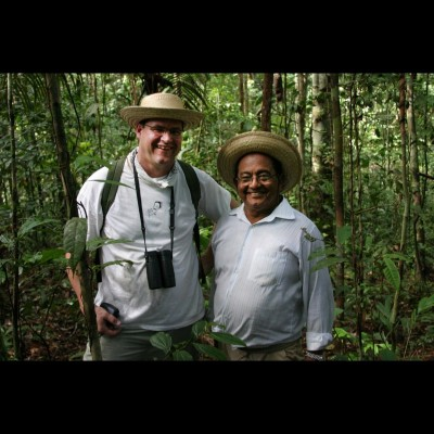 Kirk posing with the legendary Moacir Fortes in the Brazilian Amazon.