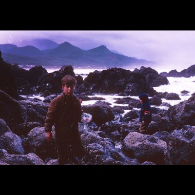 Kirk and his sister Kirsten frolicking in the tidepools along the Oregon coast in 1969.