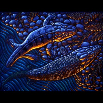 """One Small Step for a Fish, One Giant Leap for Fishkind"" a 1994 pastel by Ray showing Panderichthys and Acanthostega crawling ashore on a Devonian riverbank."
