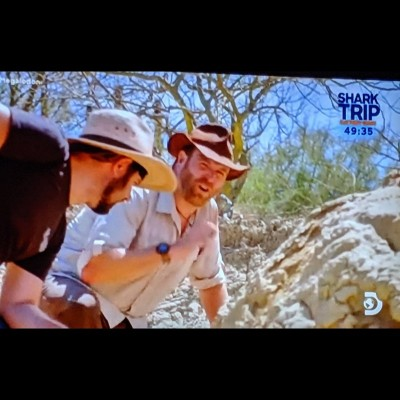 Bobby on Sharkweek finding bull shark and megalodon teeth in the Baja desert on an episode of Expedition Unknown.