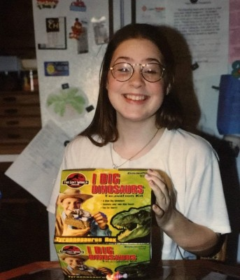 "Kallie celebrating a Jurassic Park ""I Dig Dinosaurs"" excavation kit for her 13th birthday."