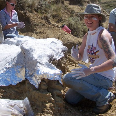 Excavating a partial Triceratops frill in eastern Montana during the Paleo Exploration Project (2008)