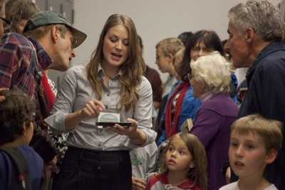 Kallie giving a tour at the University of Montana Paleontology Center during the National Fossil Day event in 2011.