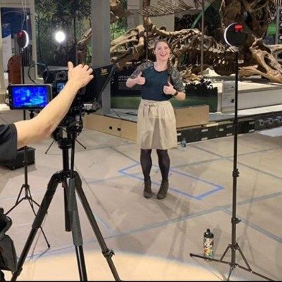 Filming an Eons episode at the Smithsonian National Museum of Natural History.