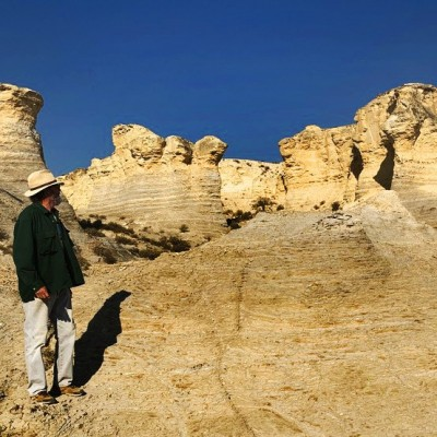 Checking out the chalk formations at Little Jerusalem Badlands State Park in Kansas.