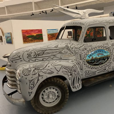 Spiker Junior, the art car created by Chuck and Ray for their Prairie Ocean exhibit at the Sternberg Museum.