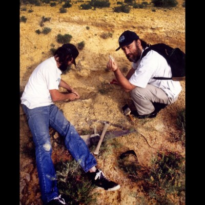 When Ray went fossil hunting with Chuck in 1992 he found the bones of a Pteranodon. Chuck prepared the fossil leg and hip bones that are now on display the Keytone Gallery.