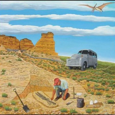Chuck's painting of his father, Marion, in the field.  Of course, Spiker is featured as well.