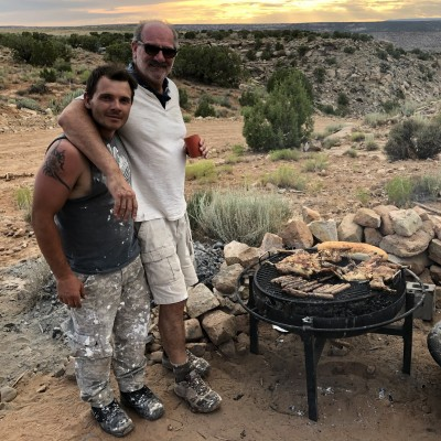 Luis and Jonatan Kaluza, a fellow Argentinian Paleo Nerd, barbecuing at the Gnatalie site