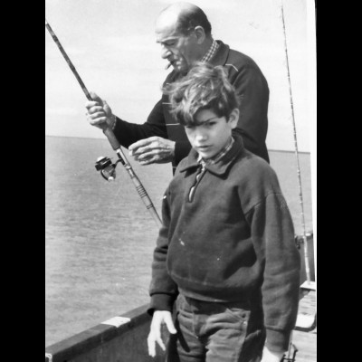 Young Luis fishing with his Grandfather, from whom he inherited his love of nature via their hunting and fishing trips.