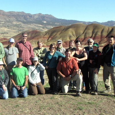 A group of paleobotanists on a GSA field trip to the Painted Hills, John Day Fossil Beds National Monument.