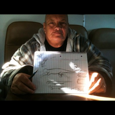 Darryl Petit and Ray's sketches of the 'sea ape' Darryls says he saw off the coat of northern California.
